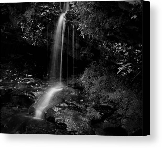 Waterfall Canvas Print featuring the photograph Monochrome Splash by Christine Annas