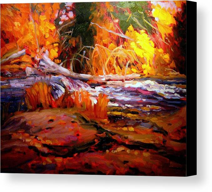 Landscape Paintings Canvas Print featuring the painting Cascade by Brian Simons
