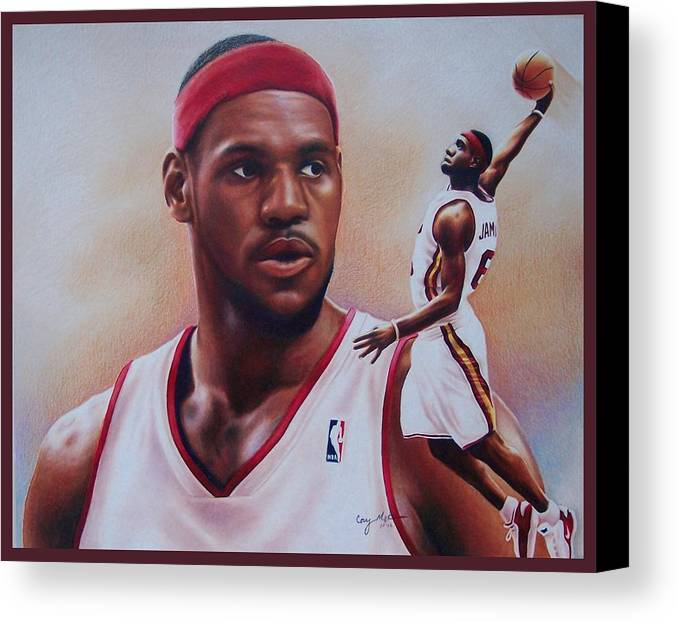 Lebron Canvas Print featuring the drawing Lebron James by Cory McKee