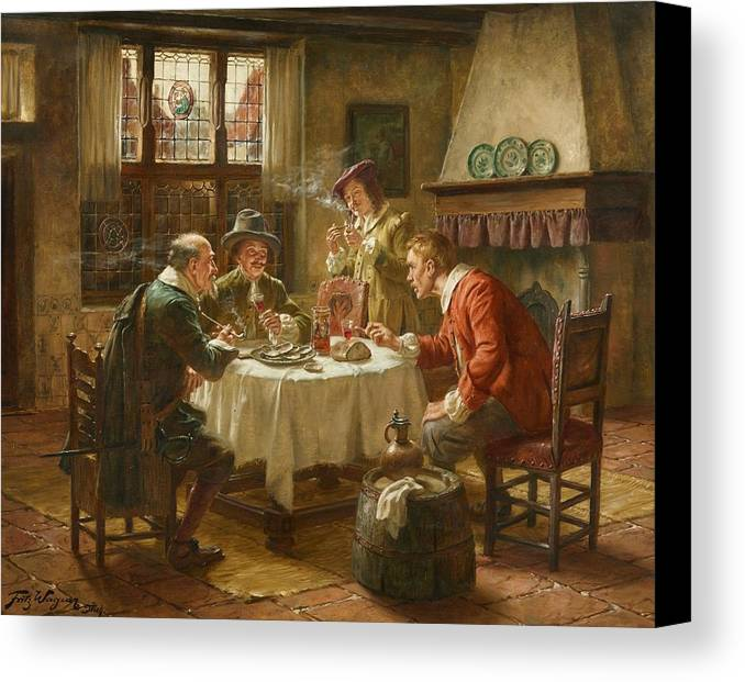 Fritz Wagner Canvas Print featuring the painting Merry Company In A Dutch Interior by MotionAge Designs