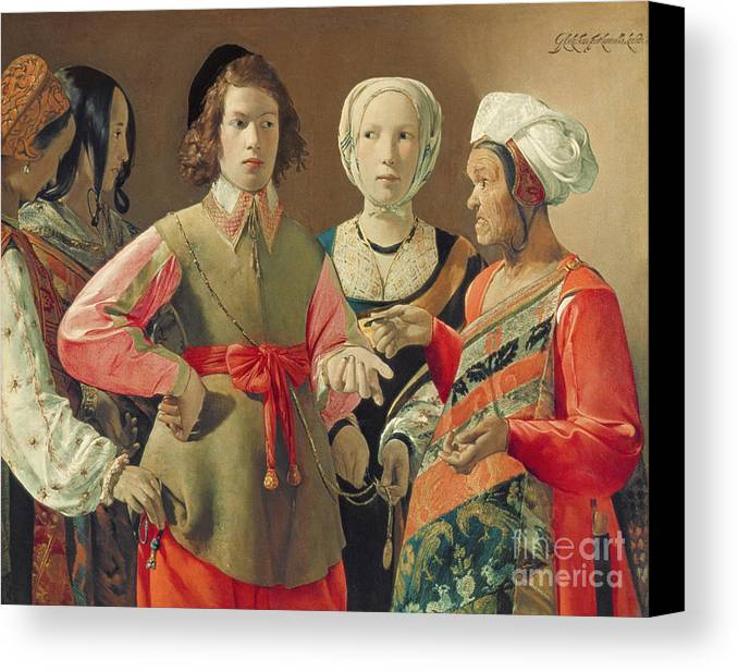 Gypsy; Coin; Turban; Stealing; Pick Pocket; Deception; Accomplices; Crossing Palm Silver; Headdress; Tunic; Costume; Hat; Money; Payment Canvas Print featuring the painting The Fortune Teller by Georges de la Tour