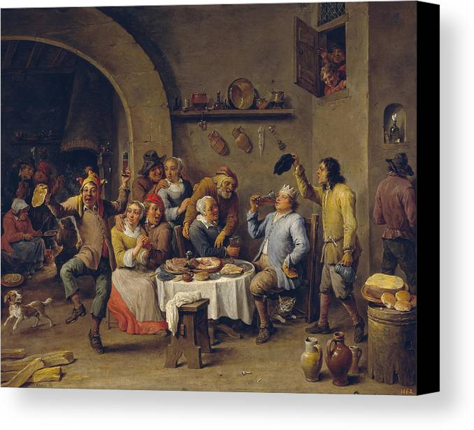 Animal Canvas Print featuring the painting The King Drinks by David Teniers the Younger