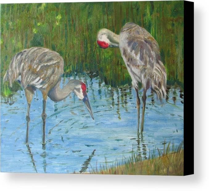 Marsh Canvas Print featuring the painting Two Cranes by Libby Cagle
