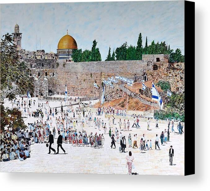 Jerusalem Day Canvas Print featuring the painting Jerusalem Day by Abraham Zimmermann