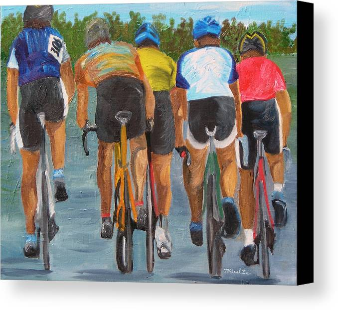 Cycling Canvas Print featuring the painting A Nice Day For A Ride by Michael Lee