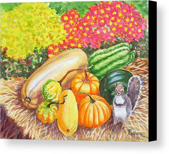 Watercolor Canvas Print featuring the painting A Squirrel And Pumpkins.2007 by Natalia Piacheva