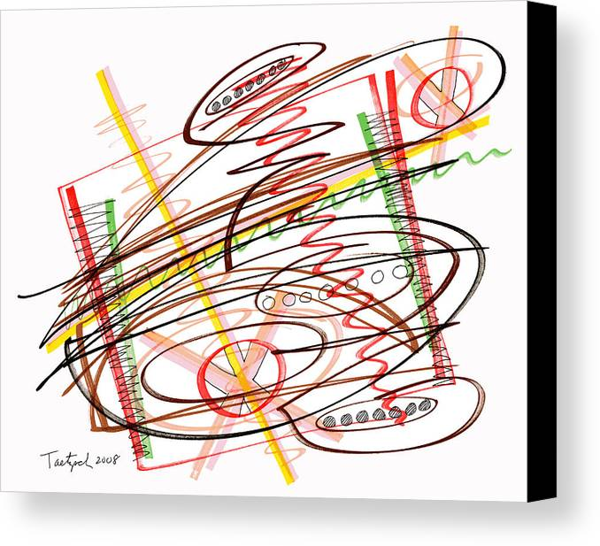 Abstract Art Canvas Print featuring the drawing Abstract Pen Drawing Seven by Lynne Taetzsch