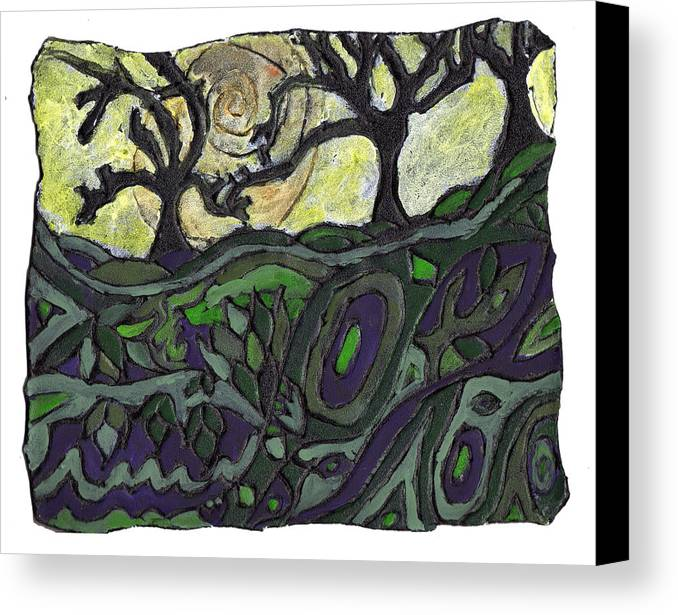 Woods Canvas Print featuring the painting Alone In The Woods by Wayne Potrafka