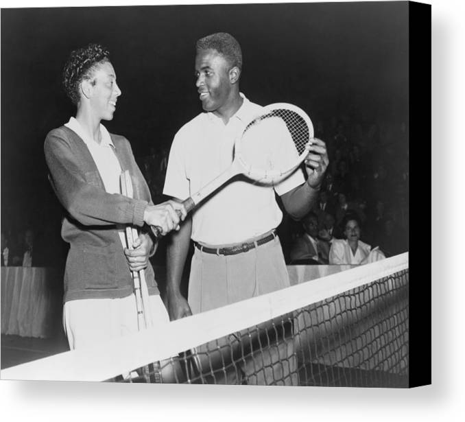 History Canvas Print featuring the photograph Althea Gibson 1927-2003 And Jackie by Everett