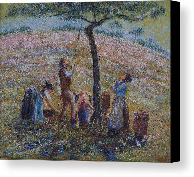 Lifestyle Canvas Print featuring the painting Apple Harvesting by Wendy Chua