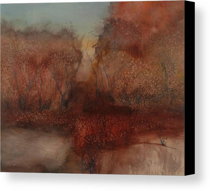 Watercolor Canvas Print featuring the painting Autumn Landscape by Leszek Lorens