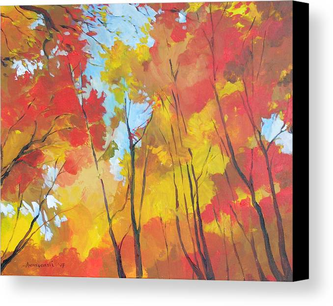 Landscape Canvas Print featuring the painting Autumn Leaves by Alessandro Andreuccetti