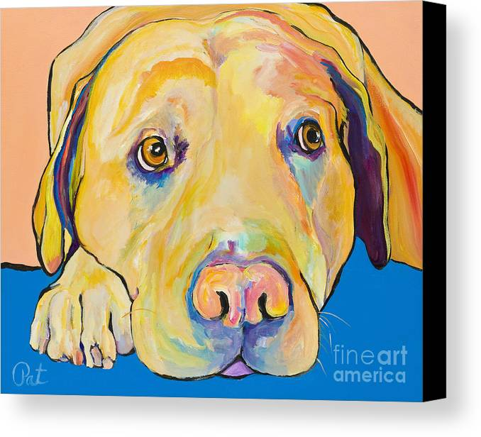 Dog Paintings Yellow Lab Puppy Colorful Animals Pets Canvas Print featuring the painting Bath Time by Pat Saunders-White