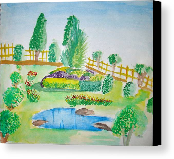 Landscape Canvas Print featuring the painting Beautiful Park by Tanmay Singh