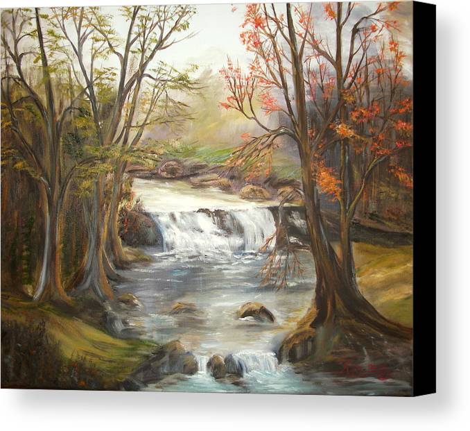 Landscape Canvas Print featuring the painting Below The Falls by Kenneth LePoidevin