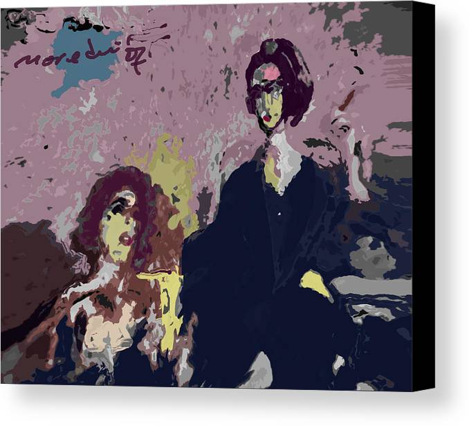 Women Canvas Print featuring the painting Between Us by Noredin Morgan