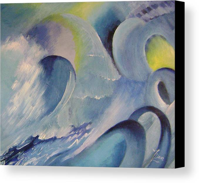 Abstract Canvas Print featuring the painting Blue Concerto 1 by Lian Zhen
