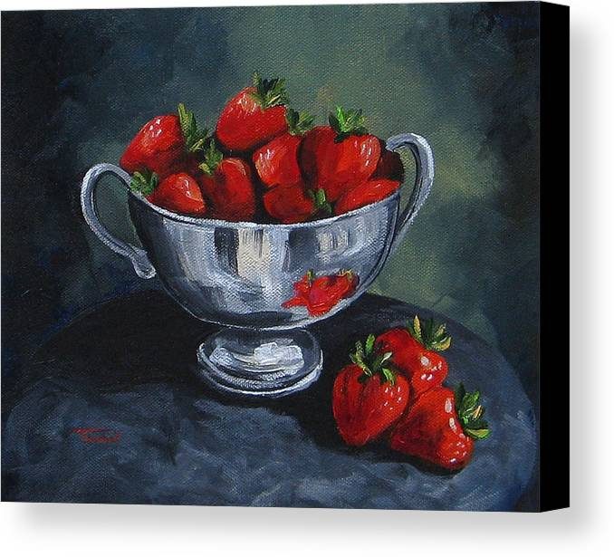 Strawberries Canvas Print featuring the painting Bowl Of Strawberries by Torrie Smiley