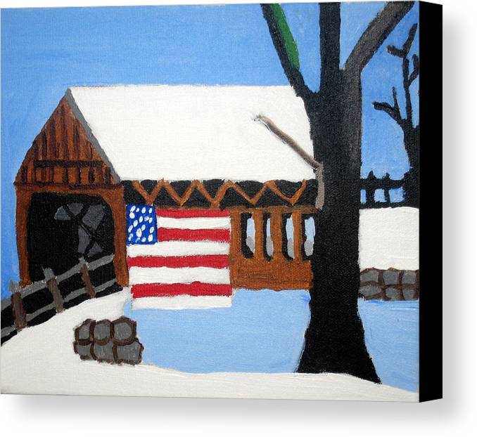 Bridge Canvas Print featuring the painting Bridge by Jeff Caturano