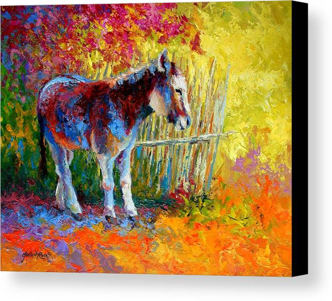 Western Canvas Print featuring the painting Burro And Bouganvillia by Marion Rose