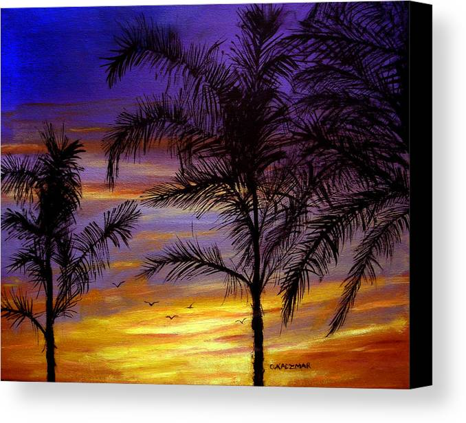 Landscape Canvas Print featuring the painting California Sunset by Olga Kaczmar