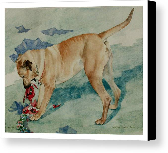 Portrait Canvas Print featuring the painting Charley Invents A Christmas Game by Eileen Hale