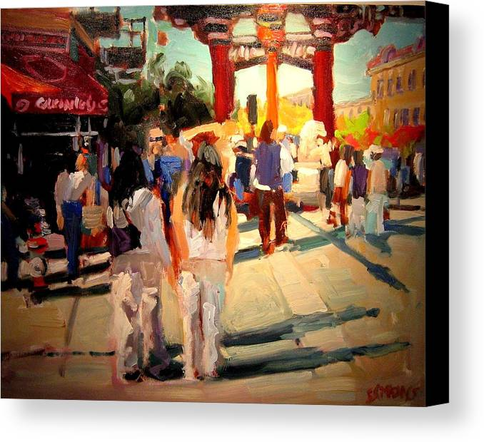 Landscape Paintings Canvas Print featuring the painting Chinatown by Brian Simons