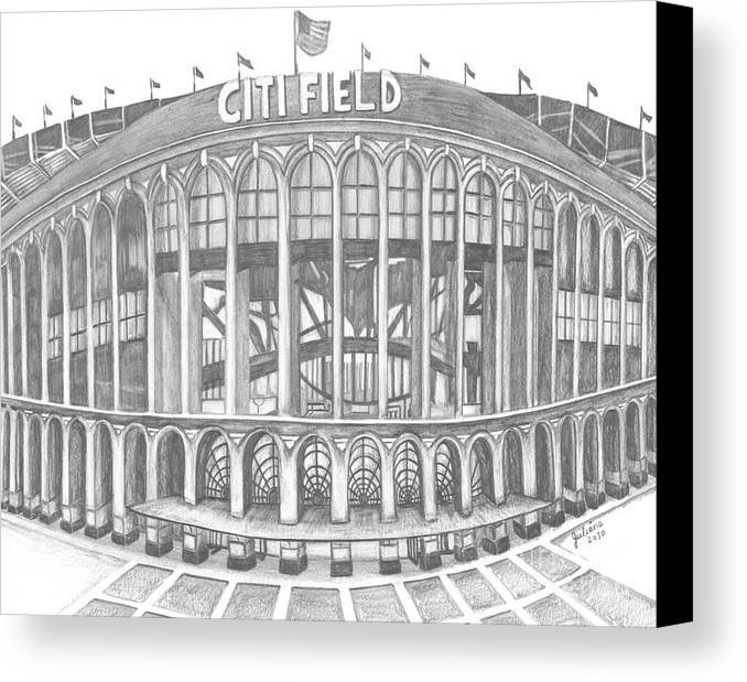 Citi Field Canvas Print featuring the drawing Citi Field by Juliana Dube