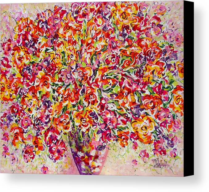 Framed Prints Canvas Print featuring the painting Colorful Organza by Natalie Holland