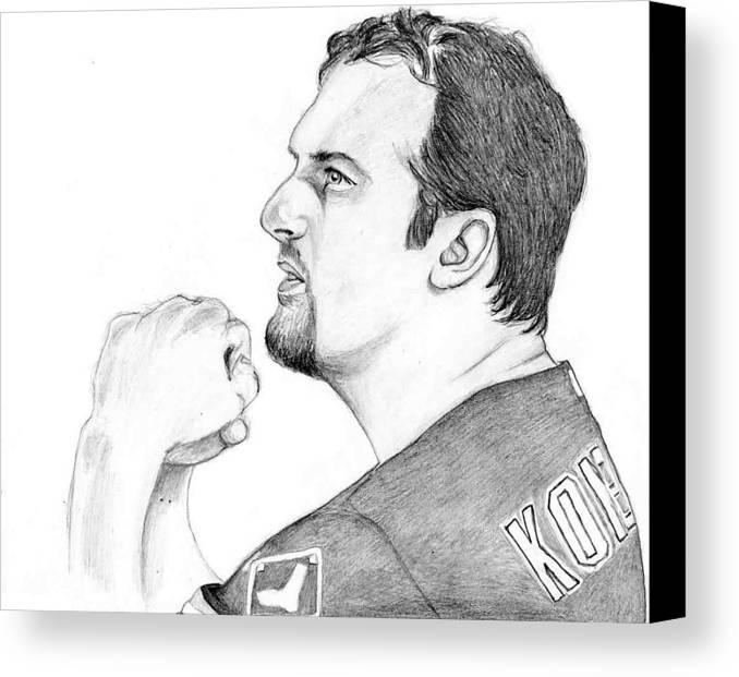 Paul Konerko Canvas Print featuring the drawing Comtemplating by Kiyana Smith