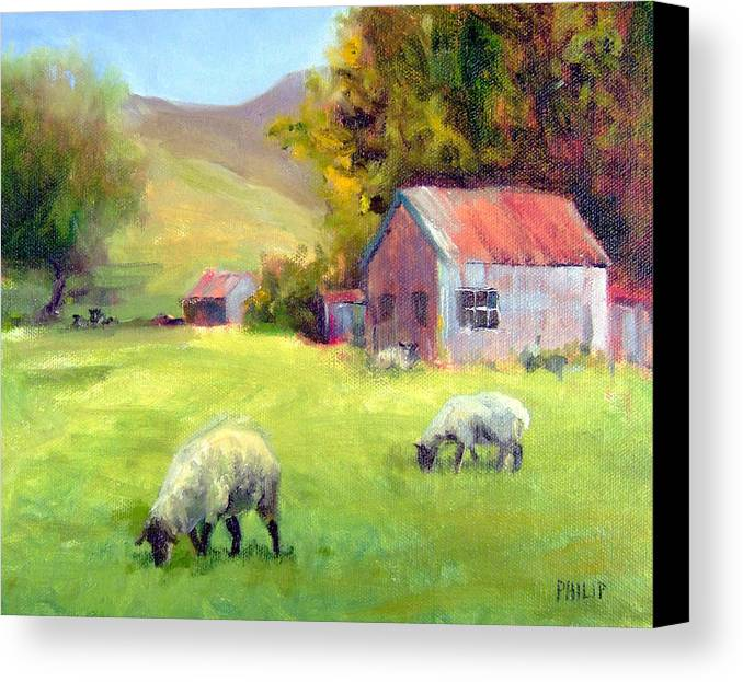 Sheep Canvas Print featuring the painting Coromandel New Zealand Sheep by Michelle Philip