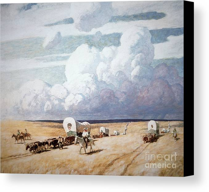 American; Landscape; Wagon; Convoy; Journey; Settler; Settlers; Traveller; Travellers; Migrant; Migrants; Horse; Cattle; Great Plains; C19th; C20th; Trail; Pioneer; Pioneers; C19th; C20th; Wagon Train; Frontier; Prairie; Migration; Caravan; Wild West; Western; Midwest; Westward Expansion; Arid; Flat Canvas Print featuring the painting Covered Wagons Heading West by Newell Convers Wyeth