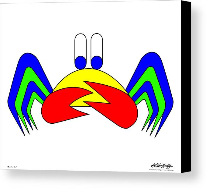 Canvas Print featuring the digital art Crab-mac-claw by Asbjorn Lonvig