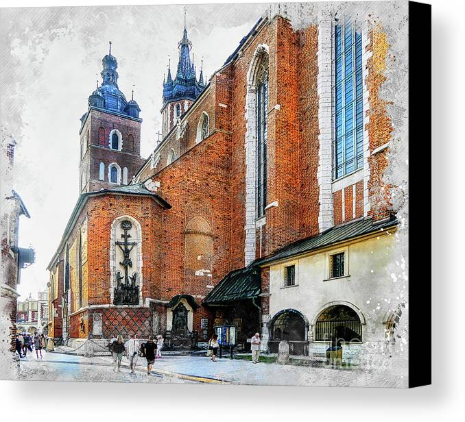 Cracow Canvas Print featuring the digital art Cracow Art 1 by Justyna JBJart