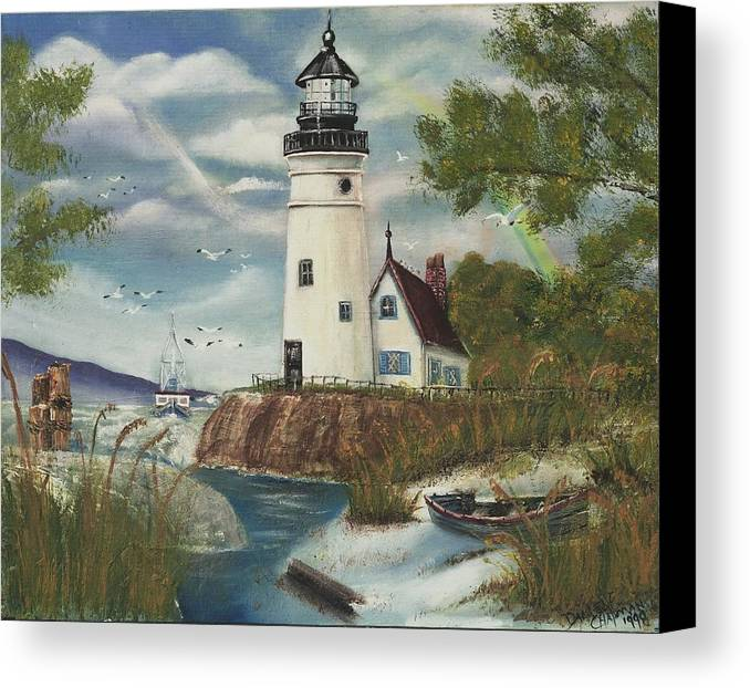 Canvas Print featuring the painting Dads Lighthouse by Darlene Green