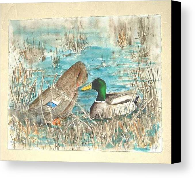 Mallards Canvas Print featuring the painting Drake And Hen by Diane Ziemski