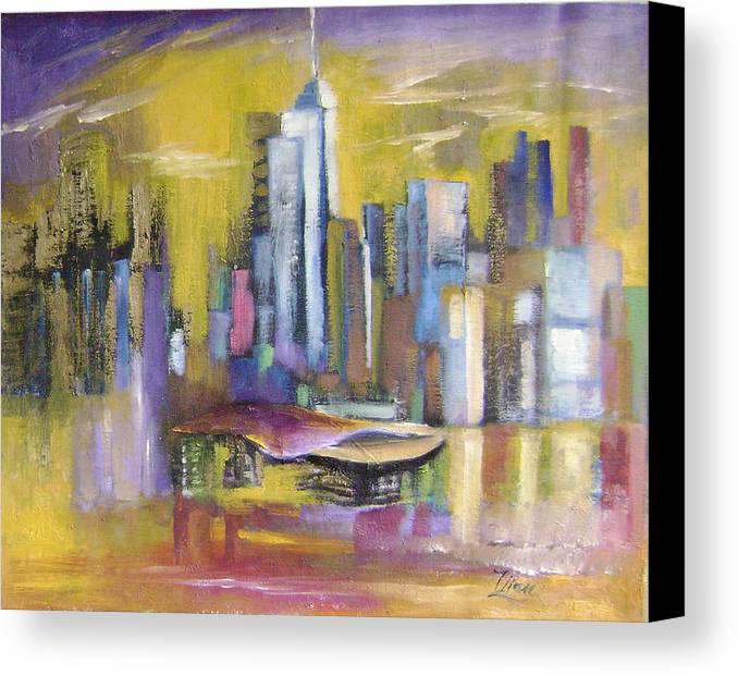 Imaginative Canvas Print featuring the painting Dream City No.5 by Lian Zhen