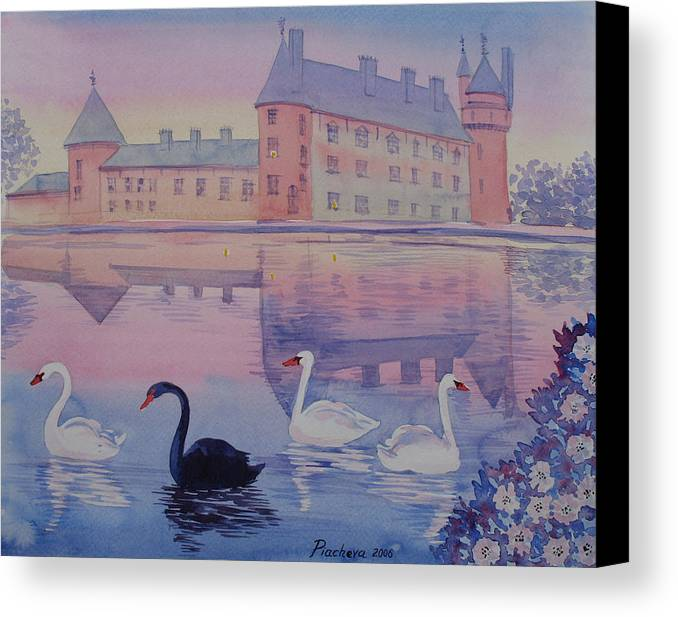 Landscape Canvas Print featuring the painting Early Morning Upon A Manor Lake.landscape Of France. by Natalia Piacheva