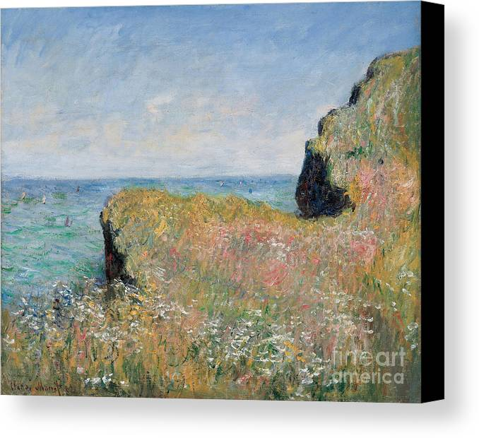 Monet Canvas Print featuring the painting Edge Of The Cliff Pourville by Claude Monet