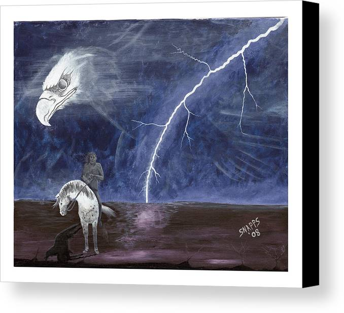 Lightning Canvas Print featuring the painting End Of The Trail by Derek Snapps Keenatch