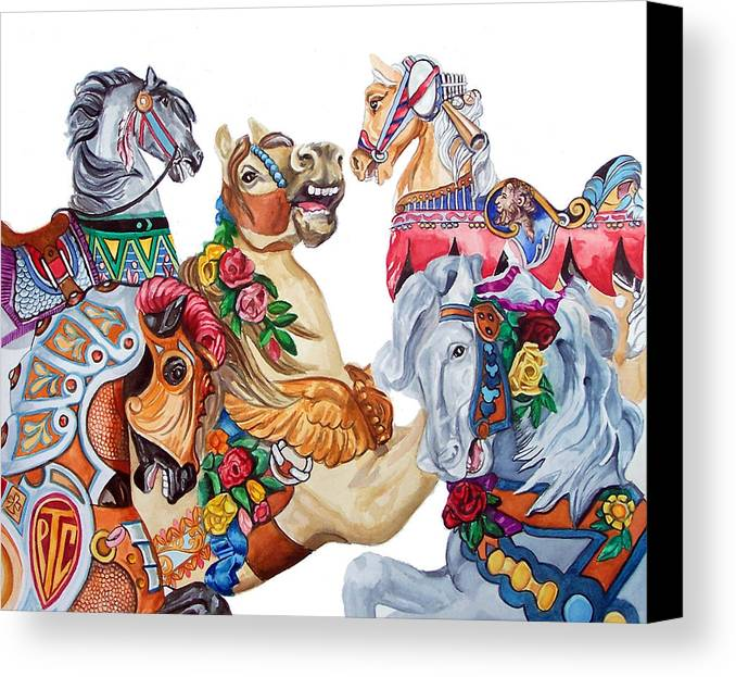 Carousel Horses Canvas Print featuring the print Escapade by Bette Gray