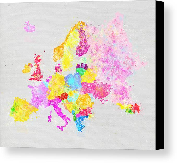 Austria Canvas Print featuring the painting Europe Map by Setsiri Silapasuwanchai