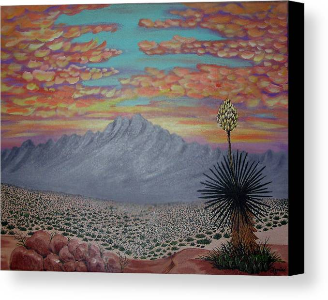 Desertscape Canvas Print featuring the painting Evening In The Desert by Marco Morales