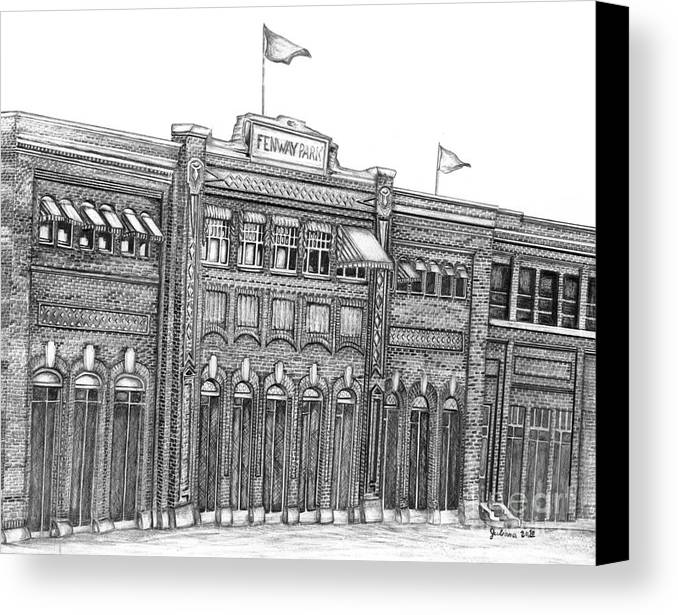 Fenway Park Canvas Print featuring the drawing Fenway Park by Juliana Dube