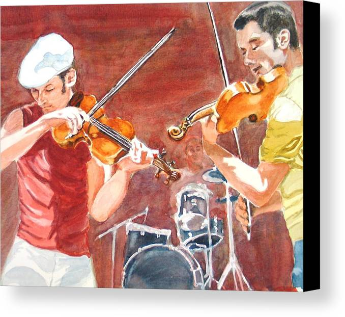 Musicians Canvas Print featuring the painting Fiddles by Karen Ilari