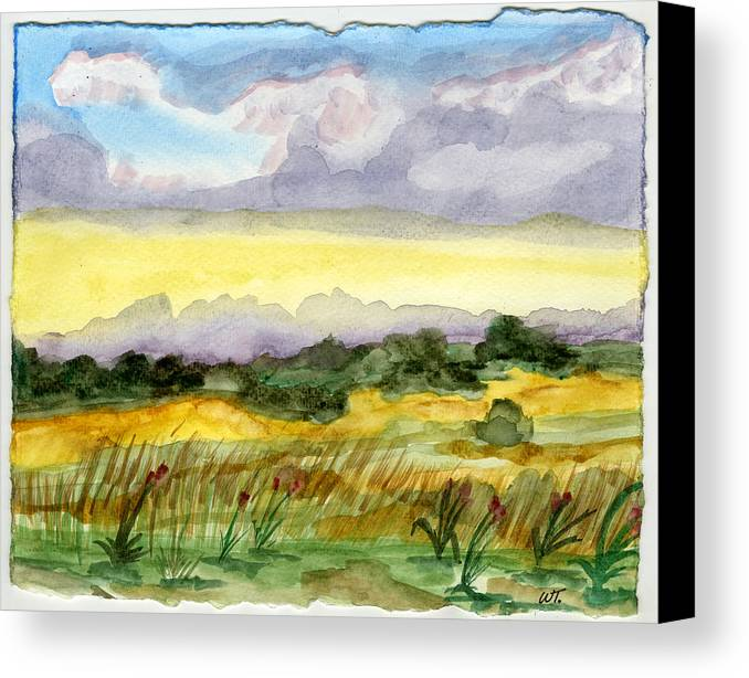 Landscape Canvas Print featuring the painting Field And Sky 2 by Warren Thompson