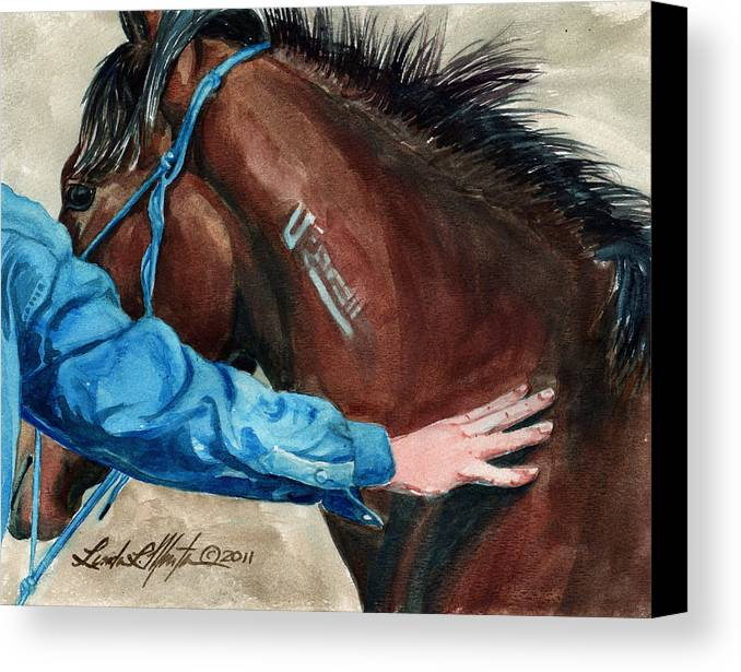 Mustang Makeover Canvas Print featuring the painting First Touch by Linda L Martin