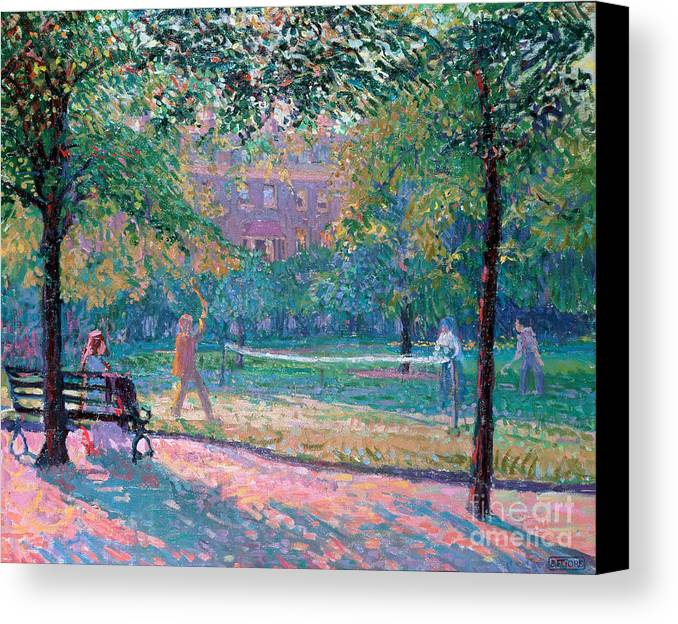 Game Canvas Print featuring the painting Game Of Tennis by Spencer Frederick Gore