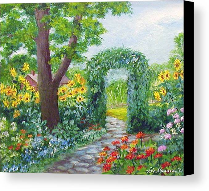 Landscape;garden;sunflowers;archway;stone Path;summer; Canvas Print featuring the painting Garden With Sunflowers by Lois Mountz