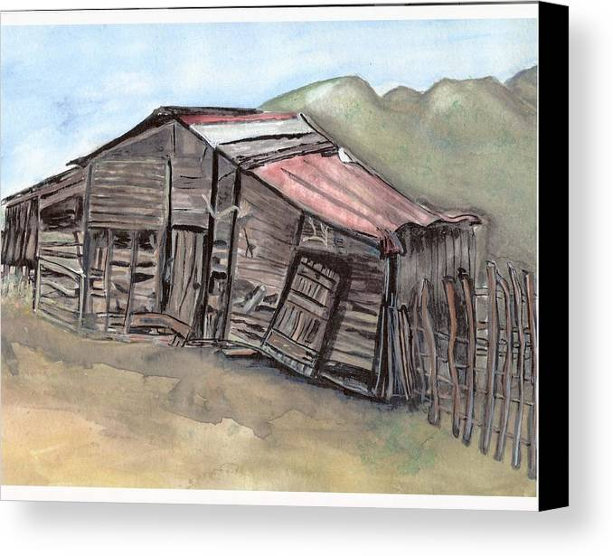 Barn Canvas Print featuring the painting Gila New Mexico Cattle Barn by Margaret Fortunato